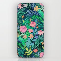 Roses + Green Messy Floral Posie iPhone & iPod Skin
