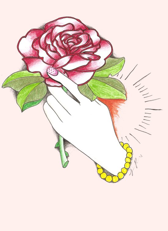 Hand Hold Rose Art Print