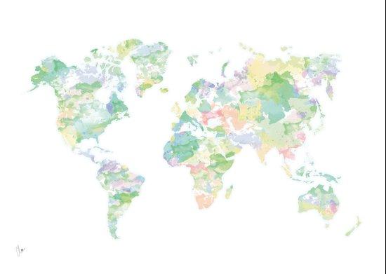Watercolour World Map (green) Art Print