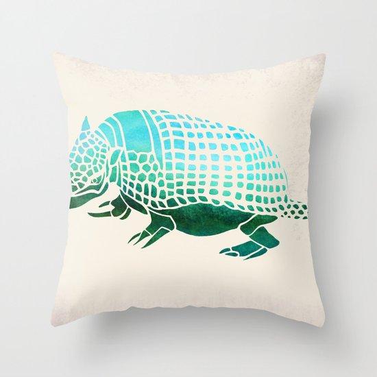Watercolor Armadillo Throw Pillow