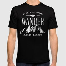 Not All who Wander are Lost SMALL Black Mens Fitted Tee
