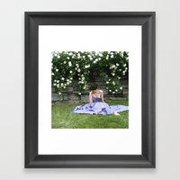 Woman In Garden Framed Art Print