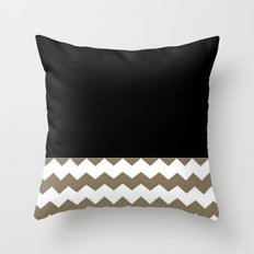 Chevron Khaki Black And White Throw Pillow