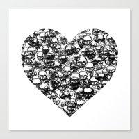 Skull Black Heart Canvas Print