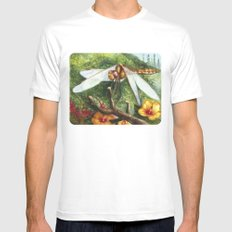 Amber Dragonfly White SMALL Mens Fitted Tee