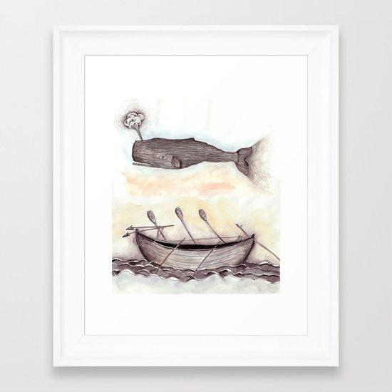 Whale Ship Framed Art Print