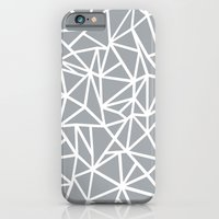 iPhone & iPod Case featuring Abstract Outline Thick White on Grey by Project M