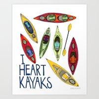 I Heart Kayaks  Art Print