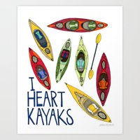 I Heart Kayaks  Art Print