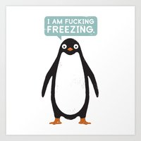 snow Art Prints featuring Talking Penguin by David Olenick