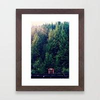 Red in Woods Framed Art Print