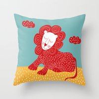 Sleeping red lion Throw Pillow