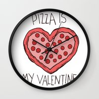 Valentine Pizza Wall Clock