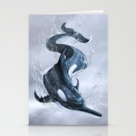 Stationery Cards featuring Orca Dolphin by Machinedeer