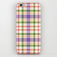 Plaid Purple And Orange iPhone & iPod Skin