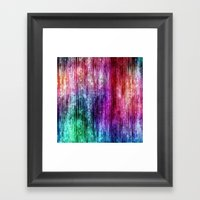 Melting Rainbow Watercolor Abstract Framed Art Print