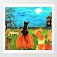 Seven Cats In Pumpkin Pa… Art Print