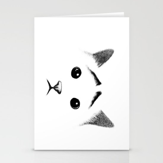 Cat with eyebrows Stationery Card