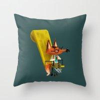Fox Boss Throw Pillow