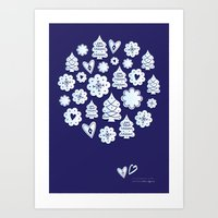 Blue Christmas Decoratio… Art Print
