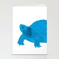 Turtle Illustration Blue Stationery Cards