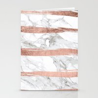 Modern chic faux rose gold brush stripes white marble Stationery Cards