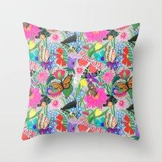 Butterflies and Moths Pattern - Grey Throw Pillow