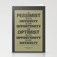 Pessimist / Optimist Stationery Cards