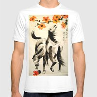 horses under floral tree Mens Fitted Tee White SMALL