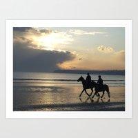 Riders at Sunset - Tramore Beach Art Print