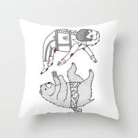 On The Bear's Uncontroll… Throw Pillow