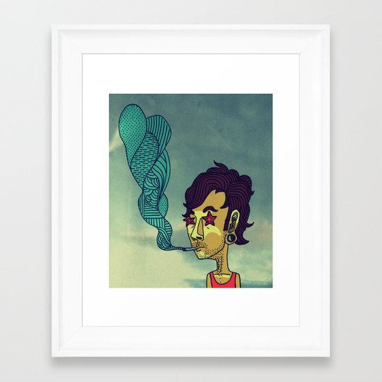 """""""Today His Hair Fell Just the Right Way, So he Rewarded Himself With a Blueberry Bagel"""" Framed Art Print"""