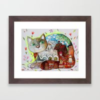 Russian Suzdal cat Framed Art Print