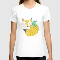 Fashionable Fox Womens Fitted Tee White SMALL