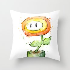 Fireflower Mario Watercolor Throw Pillow