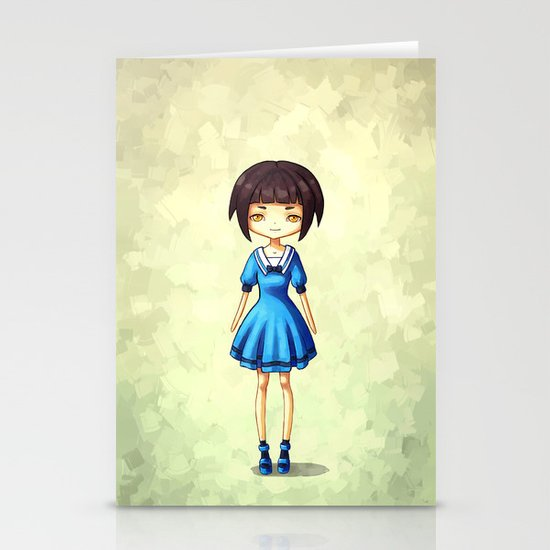 Girl in Blue Stationery Card