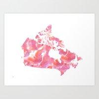 Pink Canada Watercolour Map Art Print