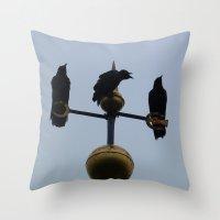Scottish storm crows Throw Pillow