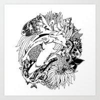 Sea Ocean Animals Art Design Art Print