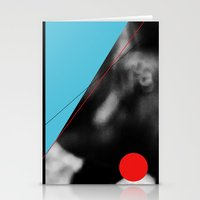 blue and red circle Stationery Cards