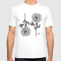 Peony 2 Mens Fitted Tee White SMALL