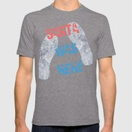Santa Was Here Mens Fitted Tee Tri-Grey SMALL