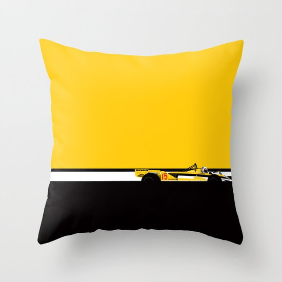 Alain Prost, Renault RE30, 1981 Throw Pillow
