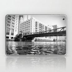 Black and White Chicago River Bridge Photography Laptop & iPad Skin