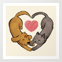 Cat Love Dog Art Print