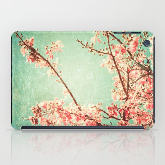 Pink Autumn Leafs on Blue Textured Sky (Vintage Nature Photography) iPad Case
