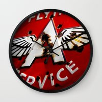 Wall Clock featuring Flying A Service by BinaryGod.com