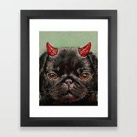 Black Pug Framed Art Print