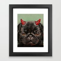 Devil Pug Framed Art Print