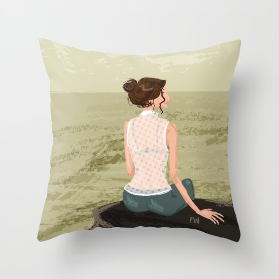 Girl by the Sea Throw Pillow